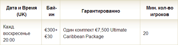 Супер Сателлиты 19 комплектов Caribbean Poker Tour гар-но